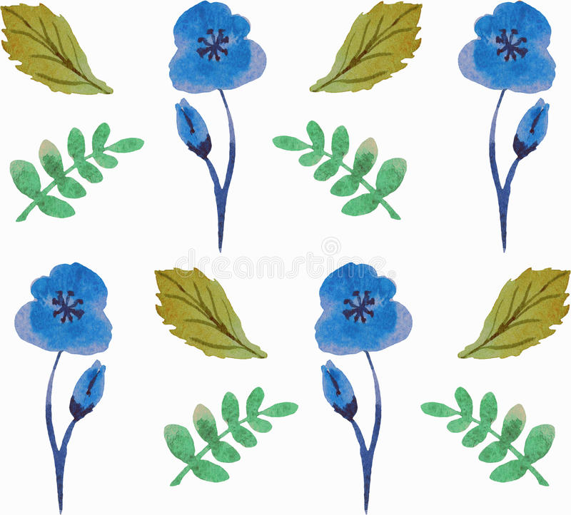 Seamless floral pattern with beautiful flowers and leaves in blue and green colours.Watercolor. royalty free illustration