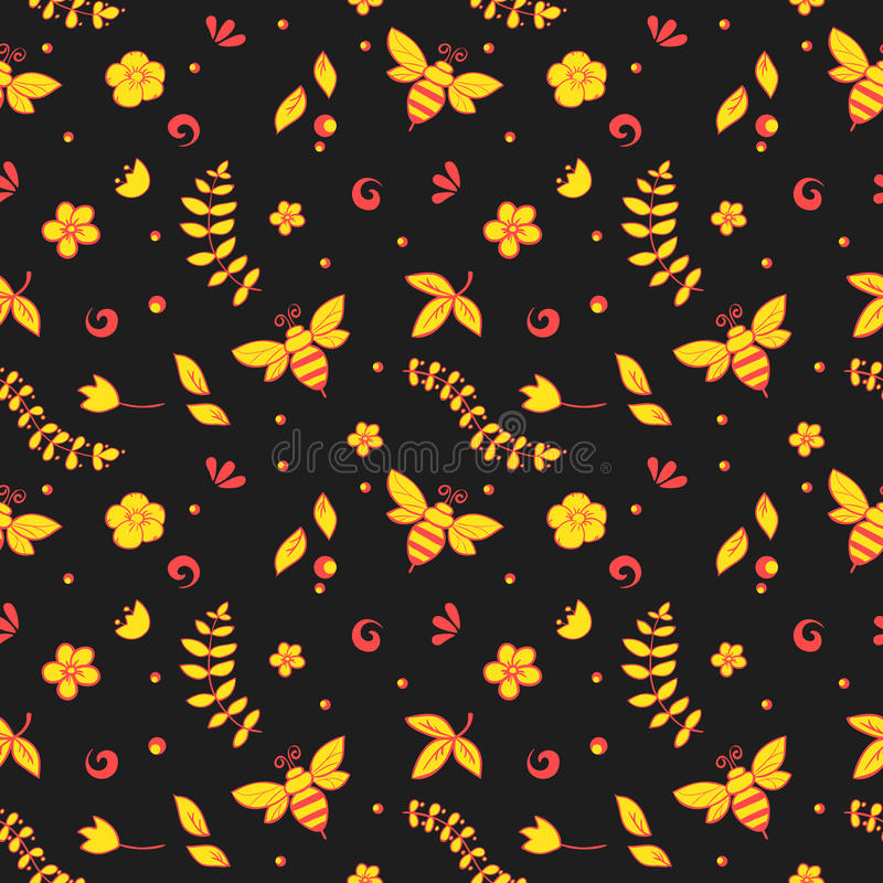 Seamless floral pattern with bees, honey, flowers, hive and other object. Khokhloma royalty free illustration