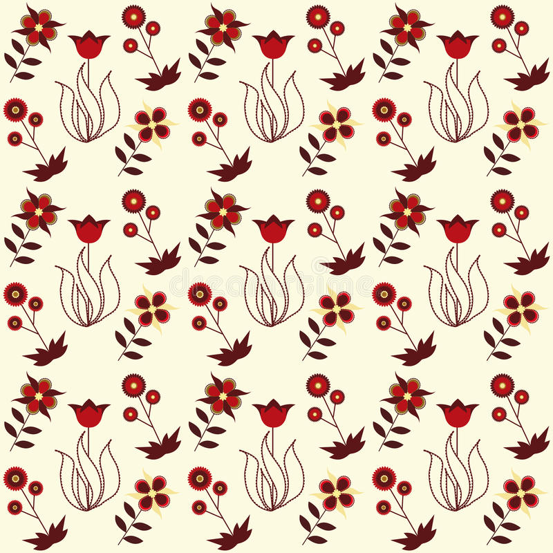 Seamless floral pattern. On beige background vector illustration