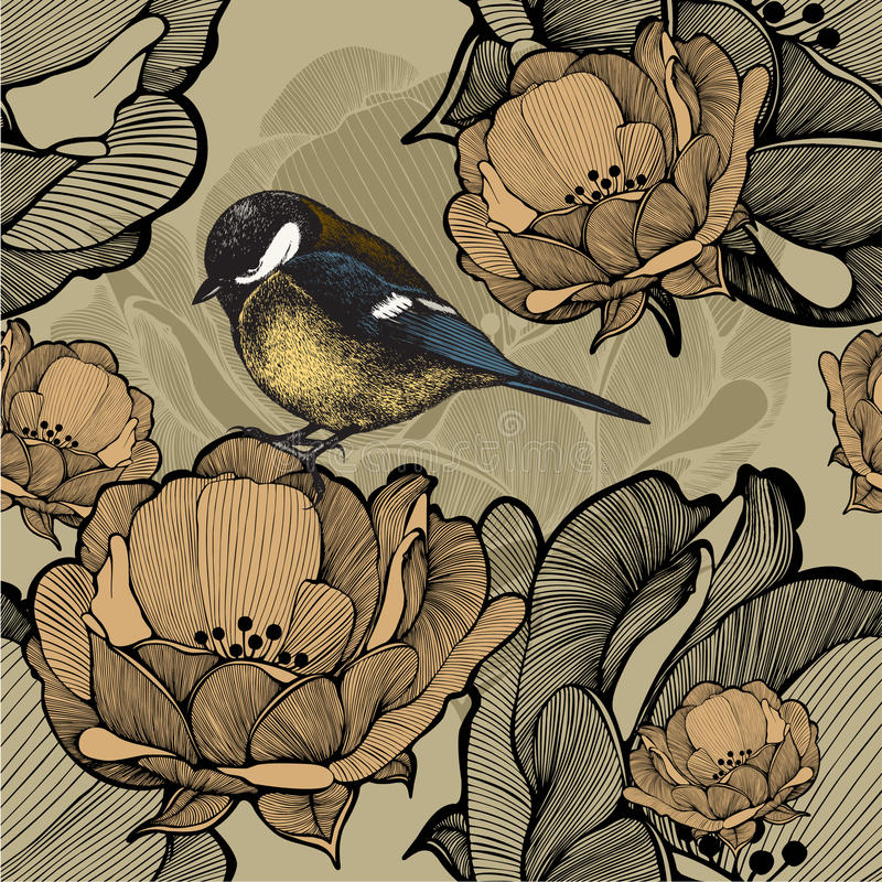 Seamless floral pattern with bird titmouse. Vector illustration. vector illustration