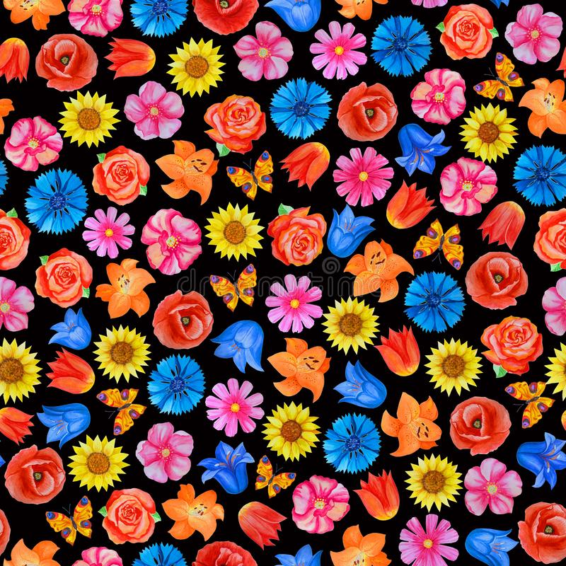 Seamless floral pattern on black background. Different bright flowers. royalty free illustration