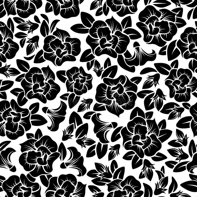Black Flower And Bud Pattern Royalty Free Stock Photos: Seamless Floral Pattern. Stock Vector. Illustration Of