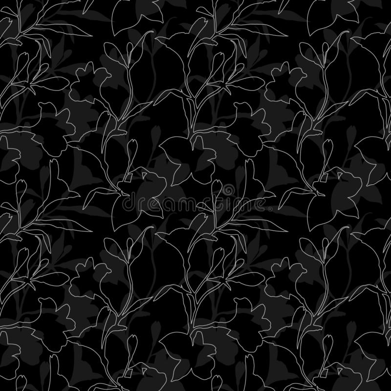 Seamless floral pattern. Black and white Pattern with Silhouette graphics flowers on black background. Alstroemeria vector illustration