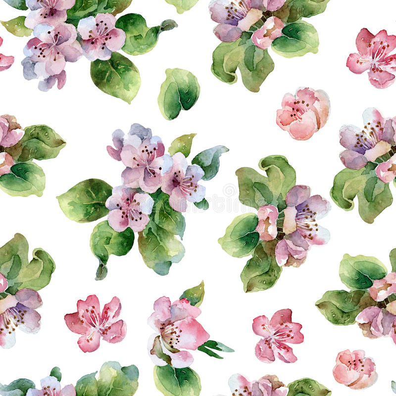 Seamless floral pattern with blooming branches vector illustration