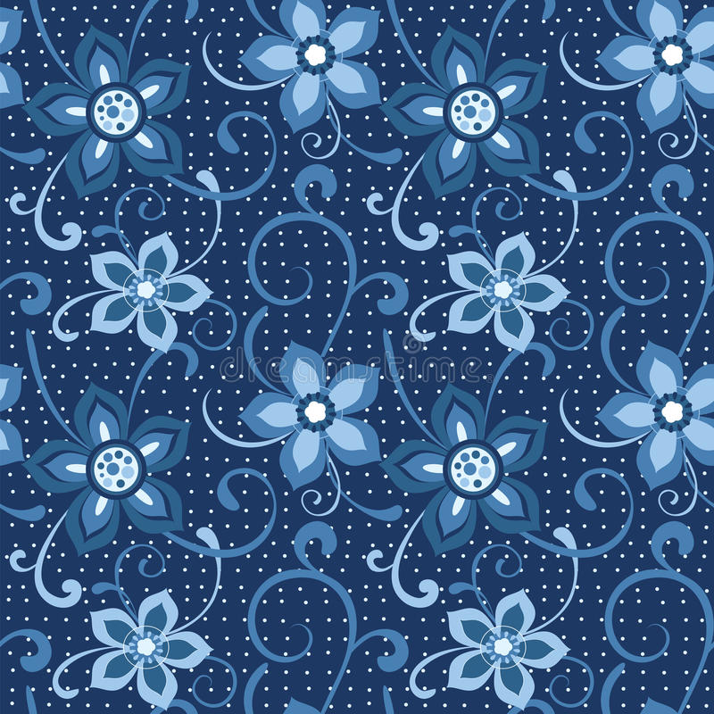 Download Seamless Floral Pattern In Blue Stock Vector - Image: 17738482