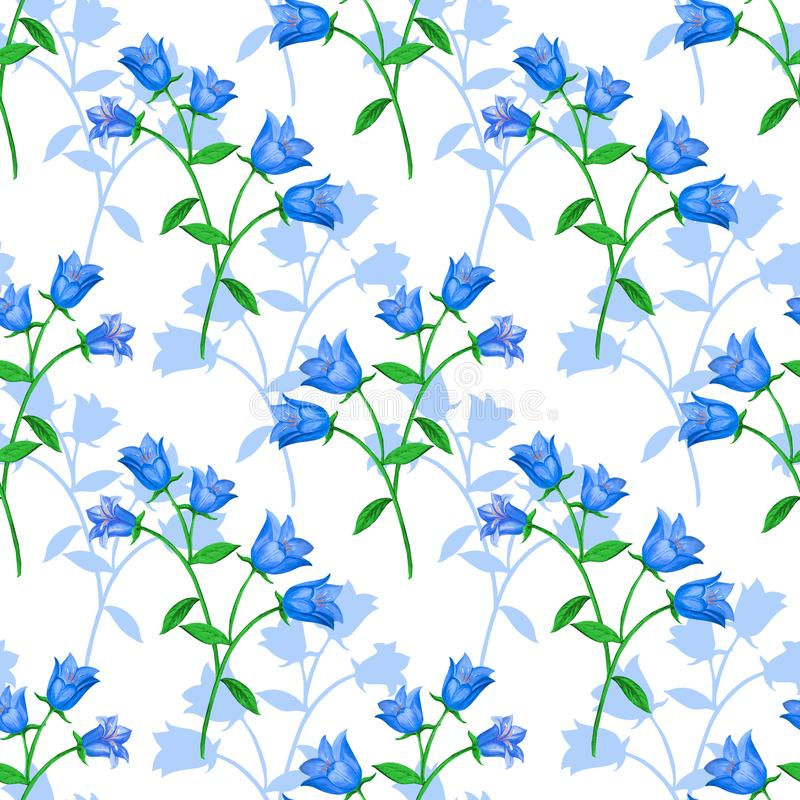 Seamless floral pattern with blue bells and flower silhouettes  on white background. royalty free illustration