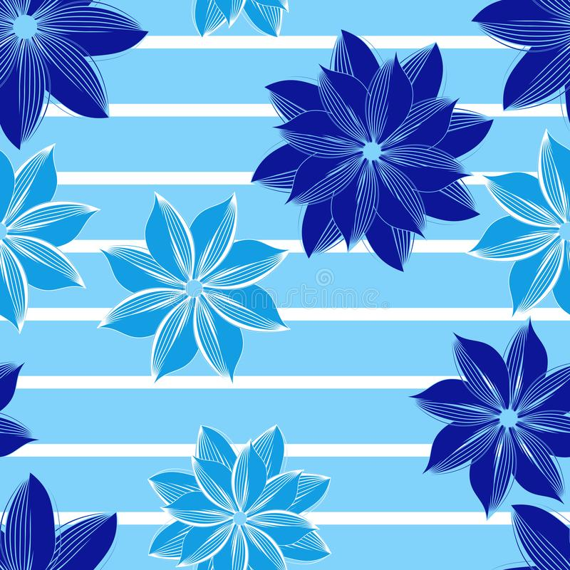 Seamless floral pattern. Blue flowers on a striped background. For fabric and wallpaper. royalty free stock images