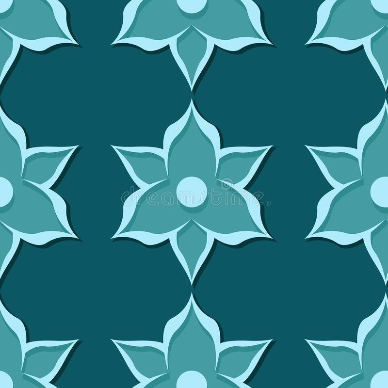 Seamless floral pattern. Blue green 3d designs royalty free illustration