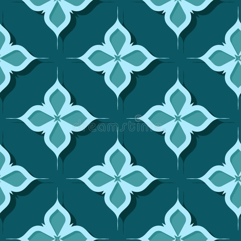 Seamless floral pattern. Blue green 3d designs stock illustration