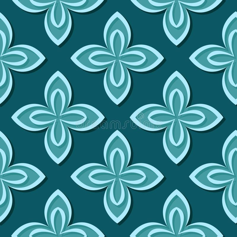 Seamless floral pattern. Blue green 3d designs vector illustration