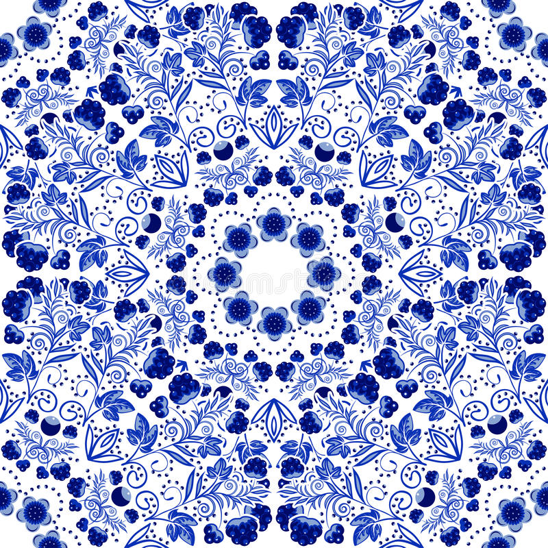 Free Seamless Floral Pattern. Blue Ornament Of Berries And Flowers In The Style Of Chinese Painting On Porcelain. Royalty Free Stock Photos - 52368708