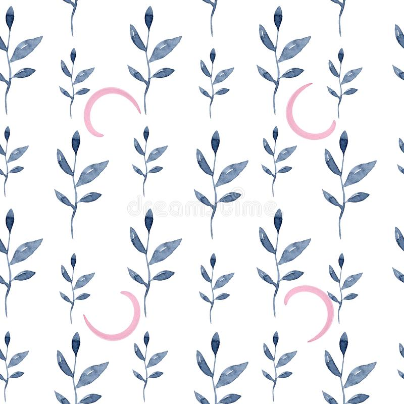 Seamless floral pattern. Blue twigs, leaves, foliage and pink circles on a white background, watercolor ink vector illustration