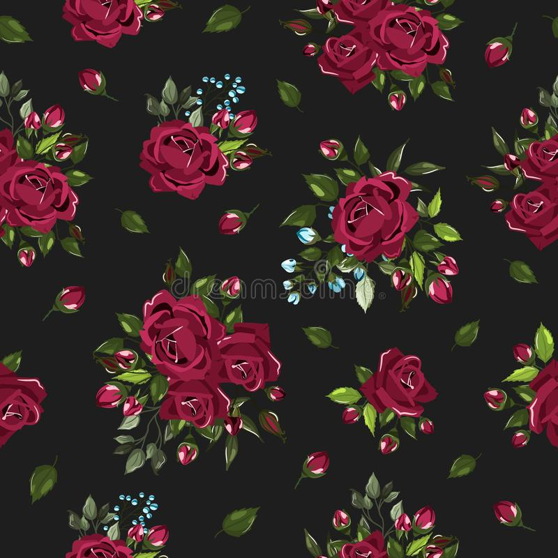 Seamless floral pattern with bordo burgundy rose flowers bouquets vector illustration