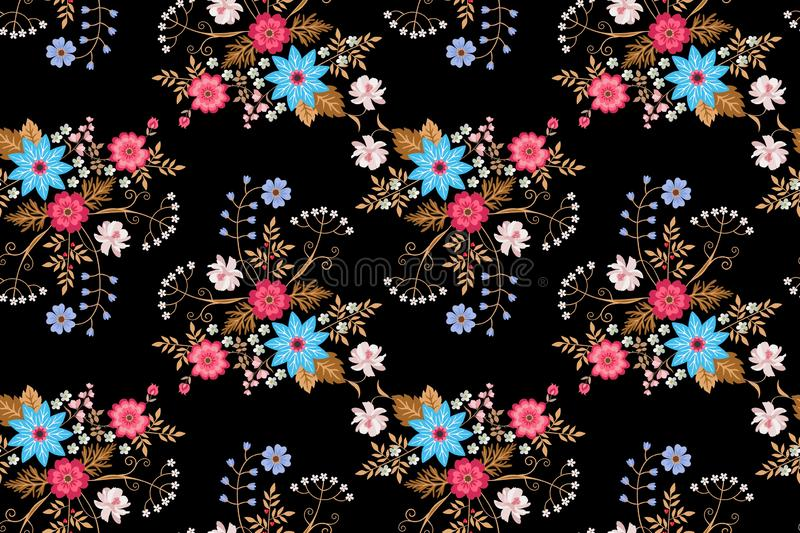 Seamless floral pattern with bouquets of bright flowers isolated on black background in folk style. Vector summer design.  vector illustration