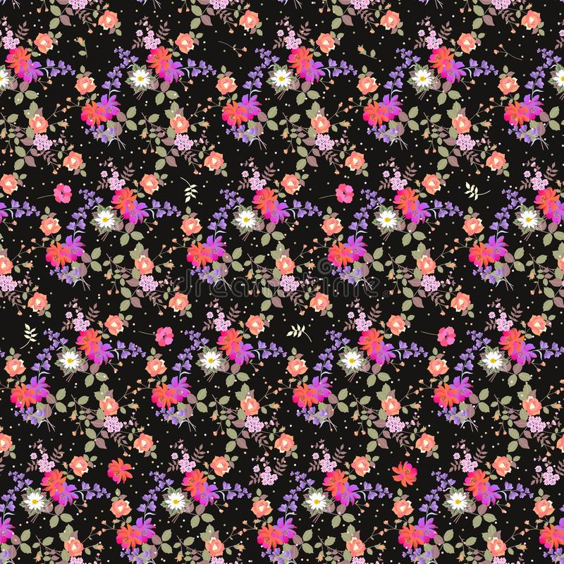 Seamless floral pattern with bouquets of garden flowers and multicolor confetti. Print for fabric. Bell and cosmos flowers. Daisies, poppies and roses stock illustration