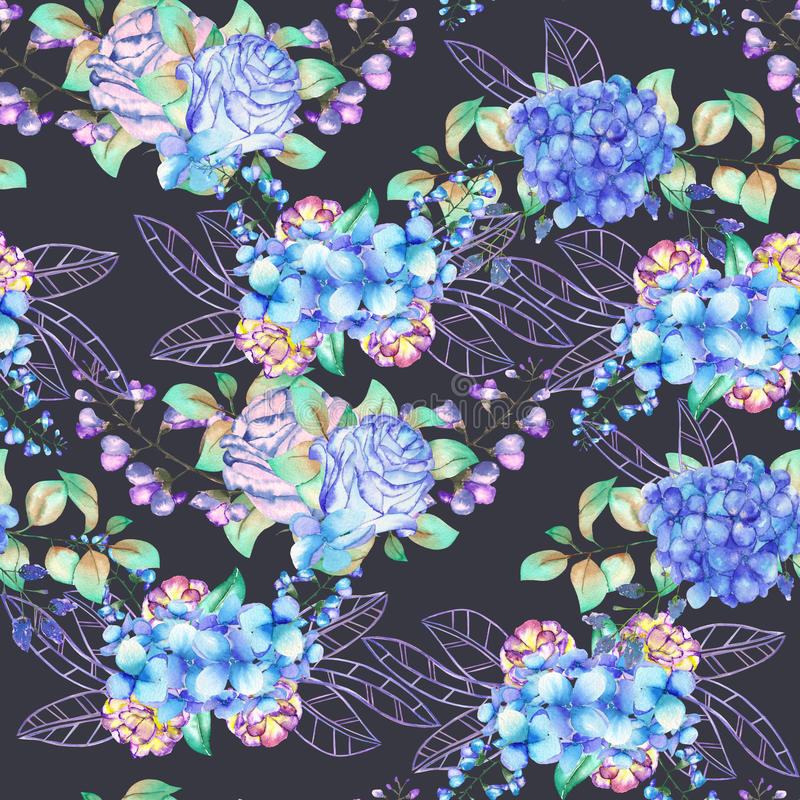 A seamless floral pattern with the bouquets of Hydrangea flowers, blue roses and leaves, painted in a watercolor on a dark backgro vector illustration