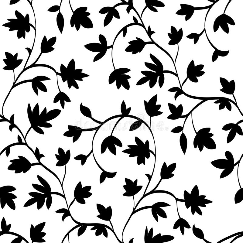 Seamless floral pattern with branches and leaves, abstract texture, endless background. Black on white, vector stock illustration