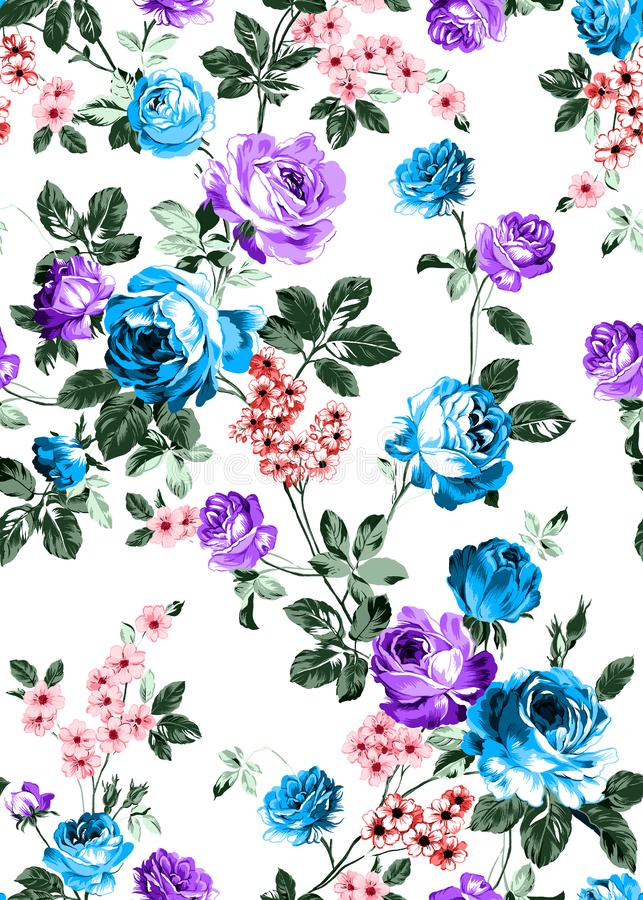 Seamless floral pattern with bright colorful flowers with leaves on a white background. The elegant template for fashion prints. M. Odern floral background royalty free illustration