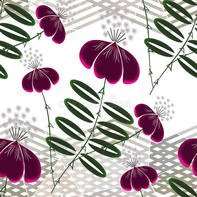 Seamless floral pattern. Bright exotic flowers on a light background with horizontal stripes. royalty free illustration
