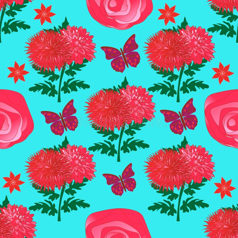Seamless floral pattern with bright red chrysanthemums, roses and butterflies royalty free illustration