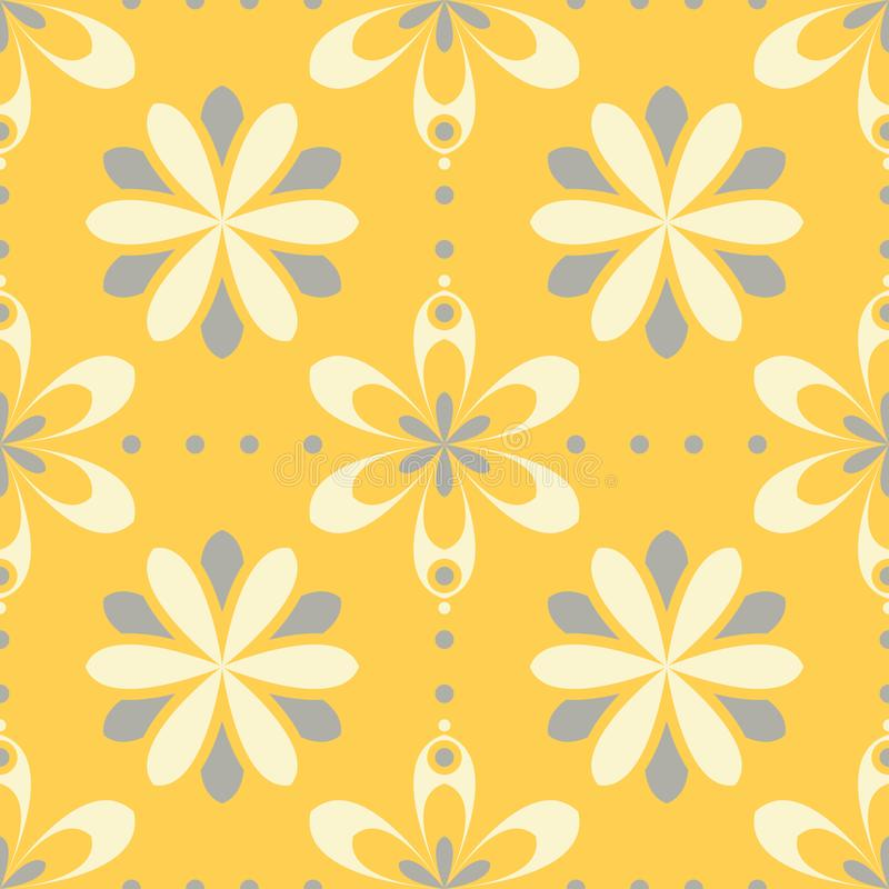 Seamless floral pattern. Bright yellow background with flower designs stock illustration
