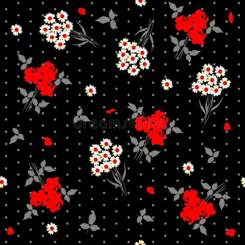 Seamless floral pattern with bunch of daisy flowers and bouquets of red roses on black polka dot background. Vector summer design.  royalty free illustration