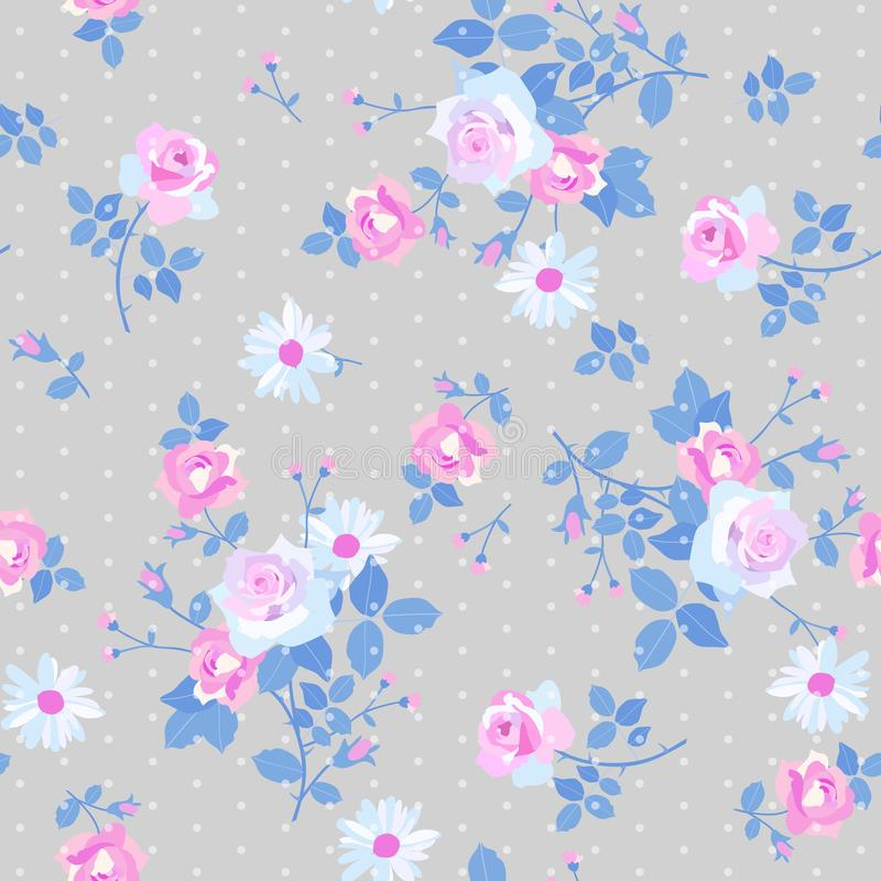 Seamless floral pattern with bunchs of gentle white and pink roses and daisy flowers on grey polka dot background. Print for fabric in country style vector illustration