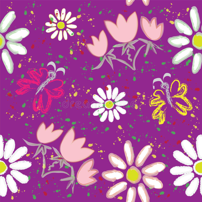 Download Seamless Floral Pattern With Butterfly And Rainbow Stock Vector - Image: 18182939
