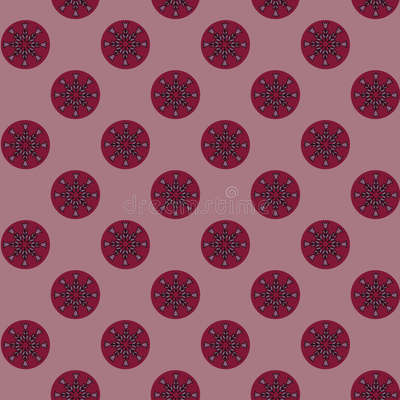 Seamless floral pattern circular elements flower ornament dark red pink black colors, fabric stock illustration
