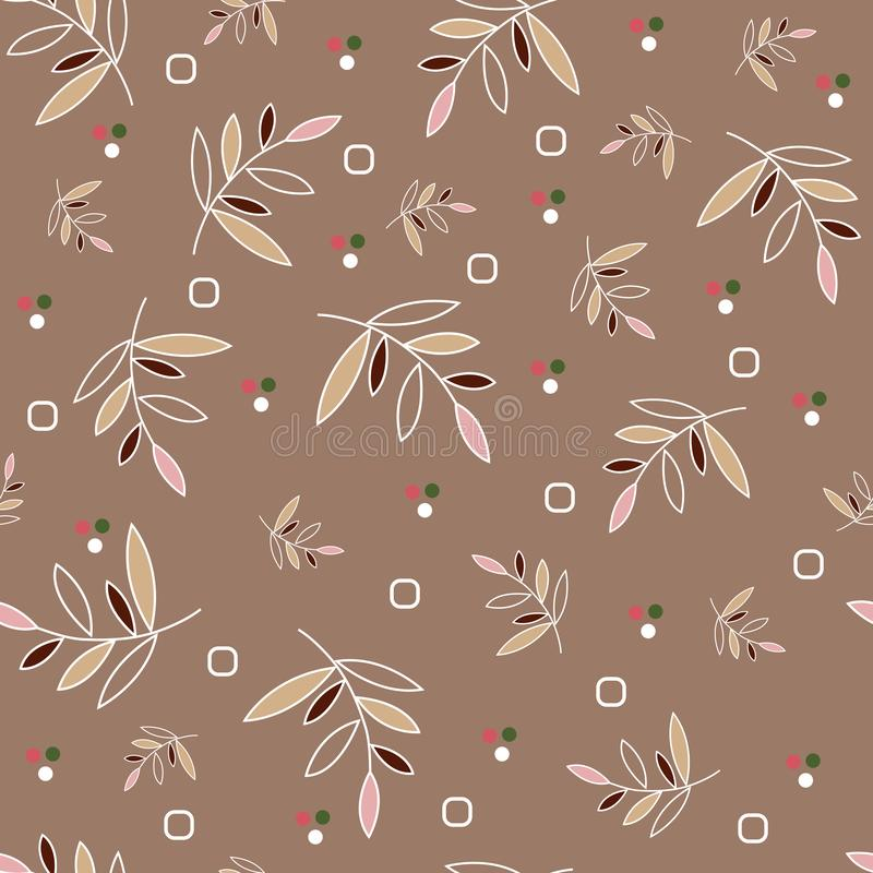 Seamless floral pattern. Colored leaves on a white twig, small elements in the form of dots and circles, tan background vector illustration