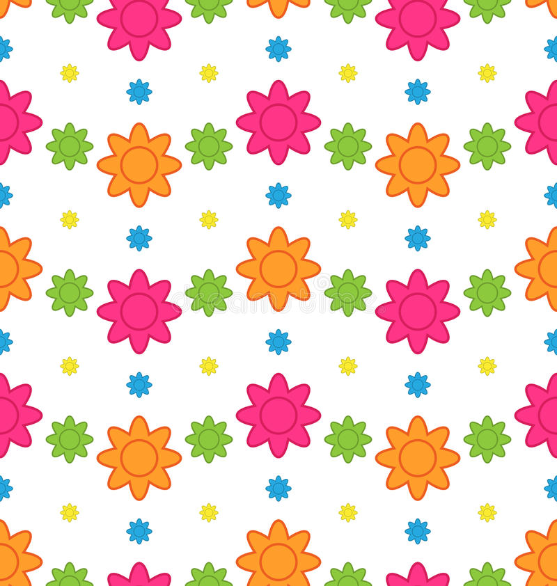 Seamless Floral Pattern with Colorful Flowers, Beautiful Pattern royalty free illustration