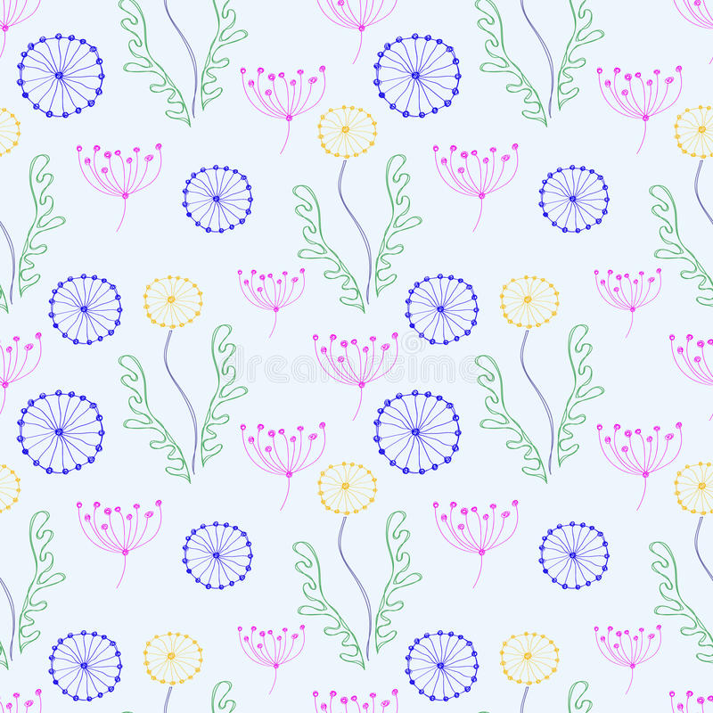 Seamless floral pattern. Colorful hand drawn background with different flowers and leaves vector illustration