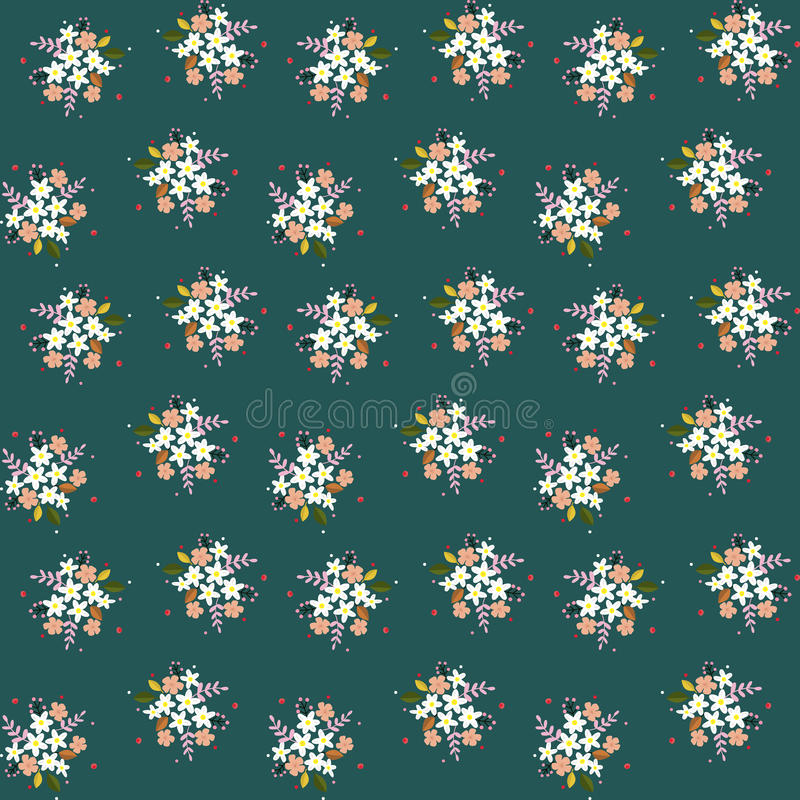 Seamless floral pattern composition small field flowers twigs berries leaves on green blueish background, fabric, tapestry, wallpa. Per design vector illustration