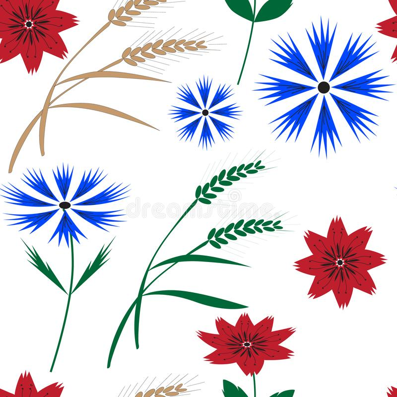 Seamless floral pattern with cornflowers and spikelets stock illustration