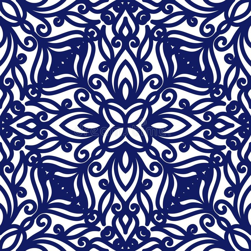 Seamless floral pattern of curls. Blue and white background. Geometric swirl ornament. Graphic modern pattern vector illustration