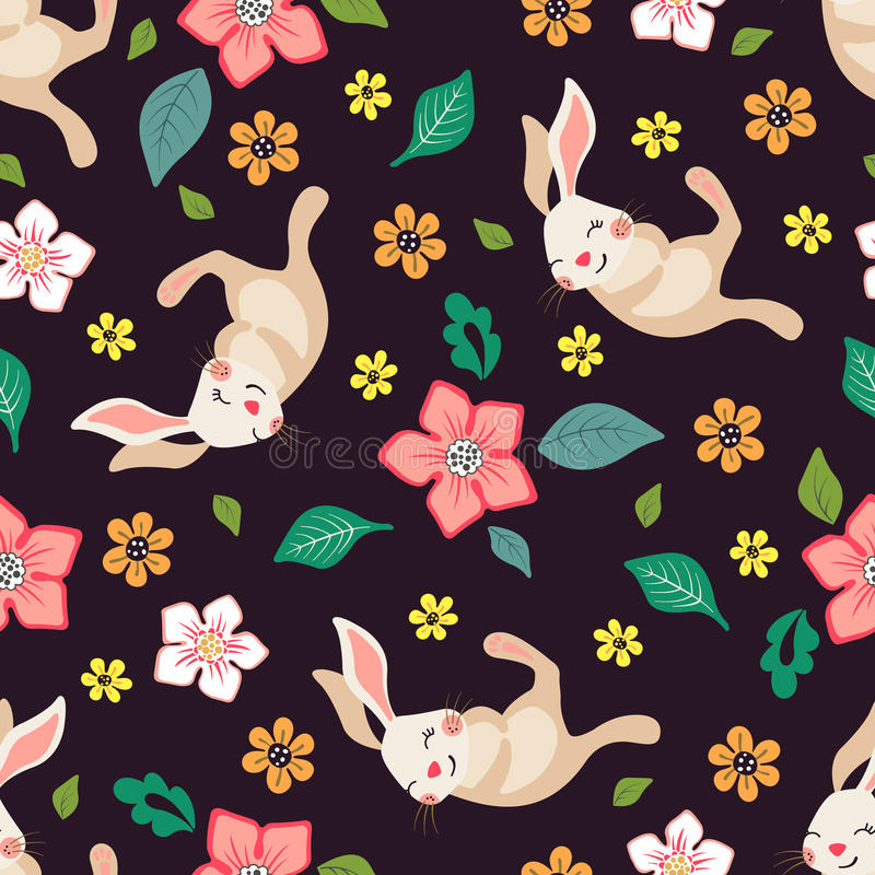 Seamless floral pattern with cute bunnies. royalty free illustration