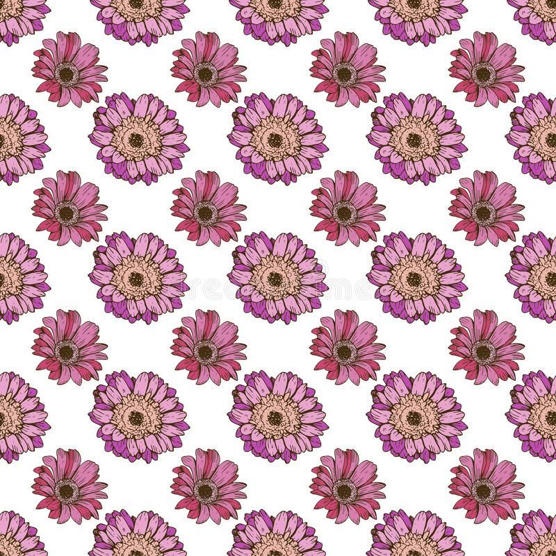 Seamless floral pattern. Cute daisy flowers on a white. Beautiful hand drawn vector background vector illustration