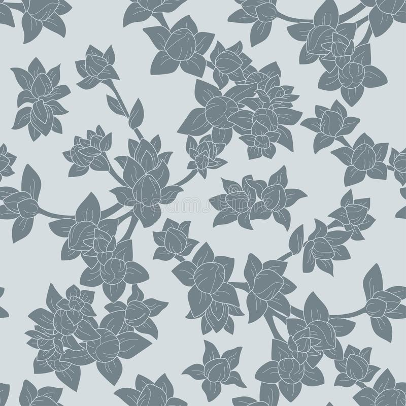 Vector seamless floral pattern with dark grey branches on the grey background stock photo