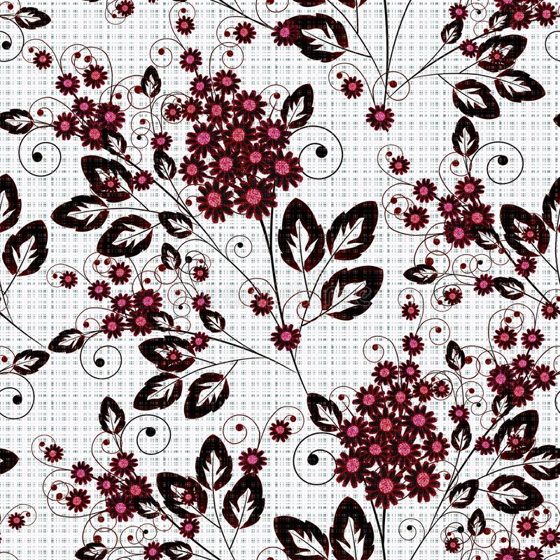 Seamless floral pattern .Dark red, black flowers on white background. royalty free illustration