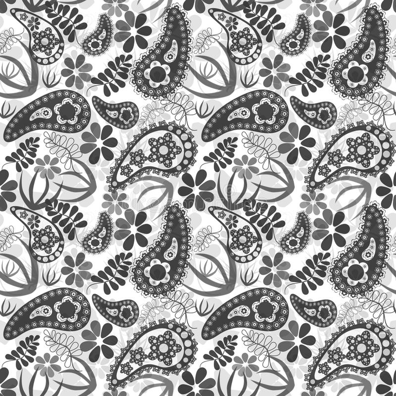 Seamless floral pattern. With decorative elements on white background stock illustration