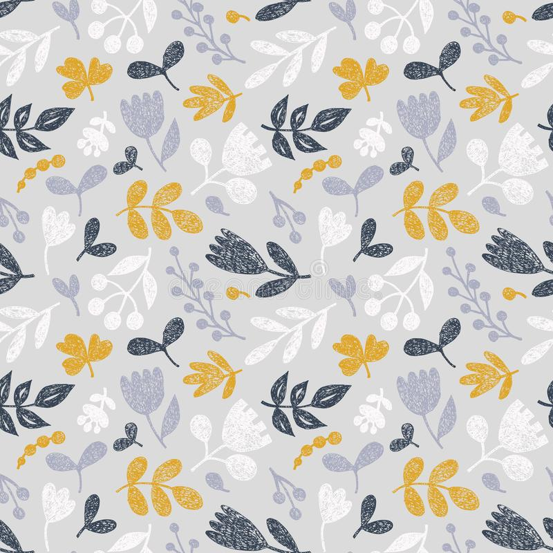 Seamless floral pattern. Decorative flowers, leaves, hand-drawn elements. Graphic ornament for textiles. Vector illustration stock illustration