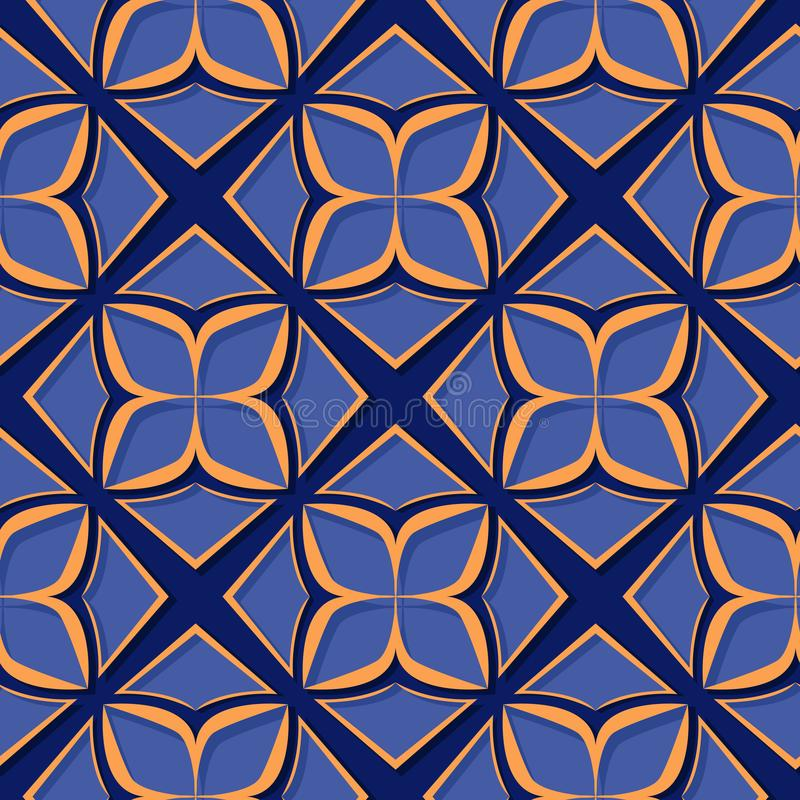 Seamless floral pattern. Deep blue and orange 3d designs stock illustration