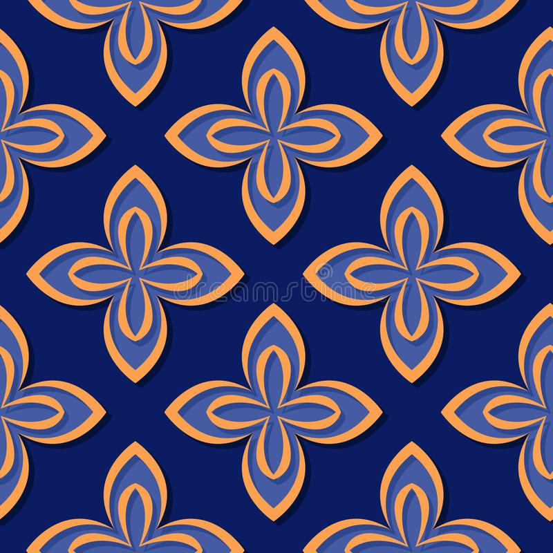 Seamless floral pattern. Deep blue and orange 3d designs vector illustration