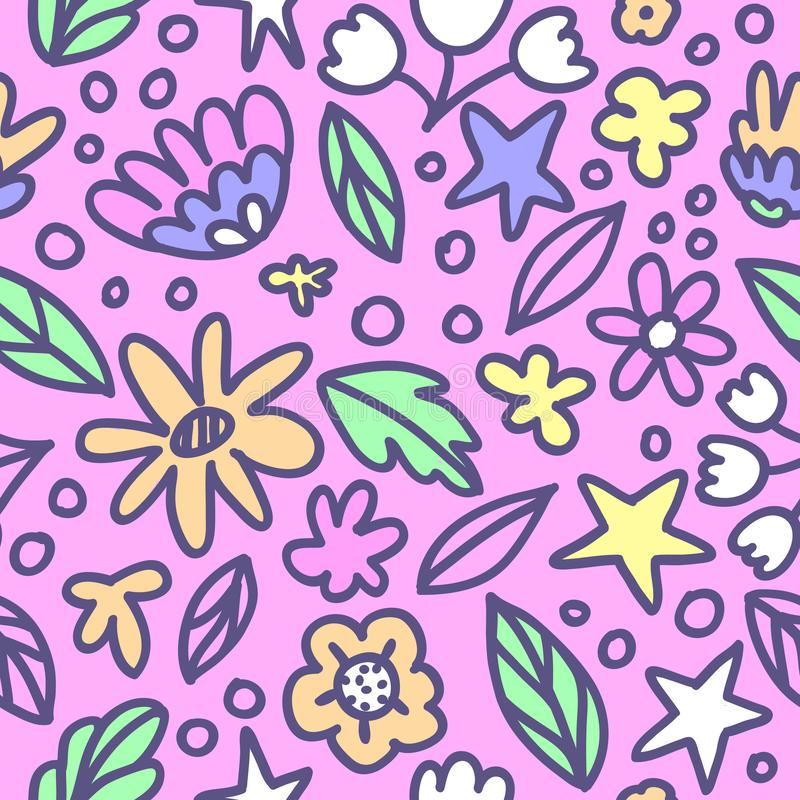 Seamless floral pattern with doodle flowers and leaves in pastel colors. Vector illustration. Trendy flowers for girly print. Hand stock illustration