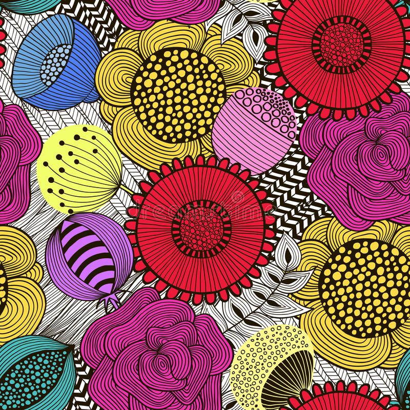 Seamless floral pattern in doodle style 2 stock illustration