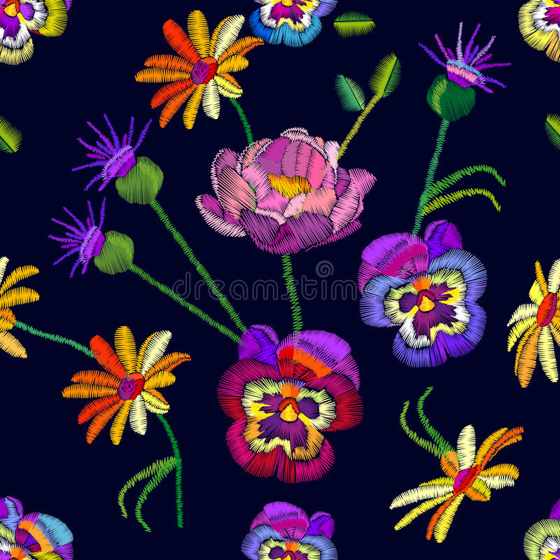 Seamless floral pattern with embroidered pansies and chamomiles. stock illustration