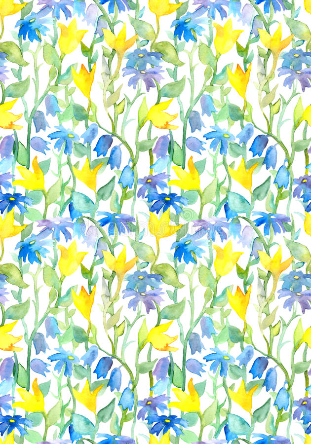 Seamless floral pattern - fantasy flowers. Watercolor. Seamless floral pattern - fantasy flowers design. Watercolor royalty free stock image