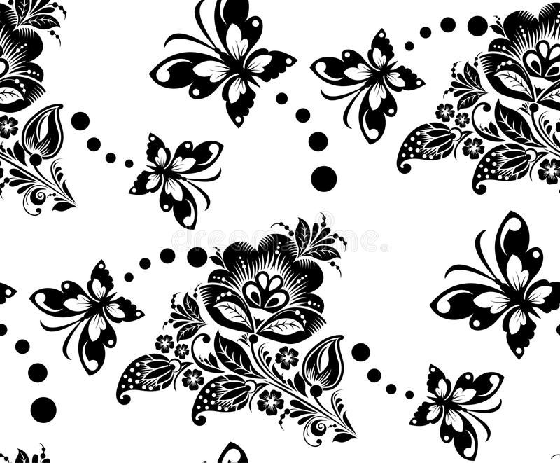 Seamless floral pattern with flower and royalty free illustration