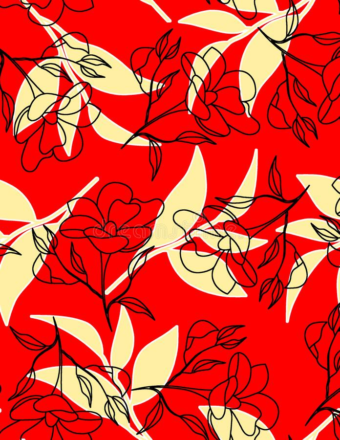 Seamless floral pattern with flowers. Background design art color full art royalty free illustration