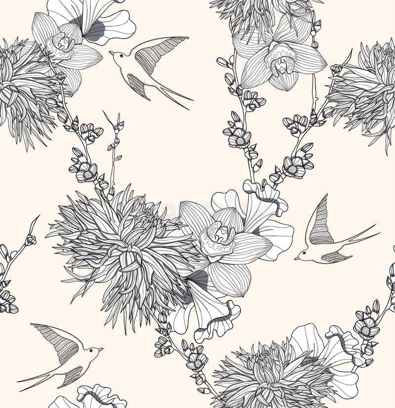 Seamless floral pattern with flowers and birds royalty free illustration